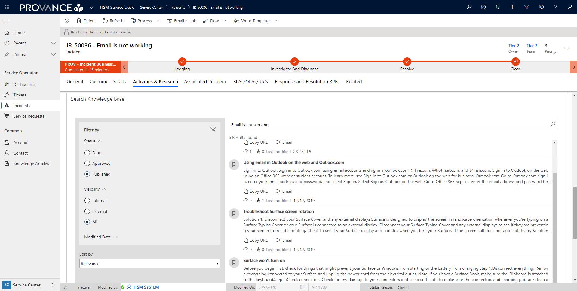 Knowledge Management Screenshot