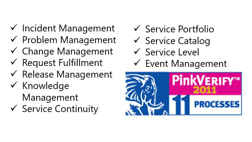 PinkVerify ITIL Processes Screenshot
