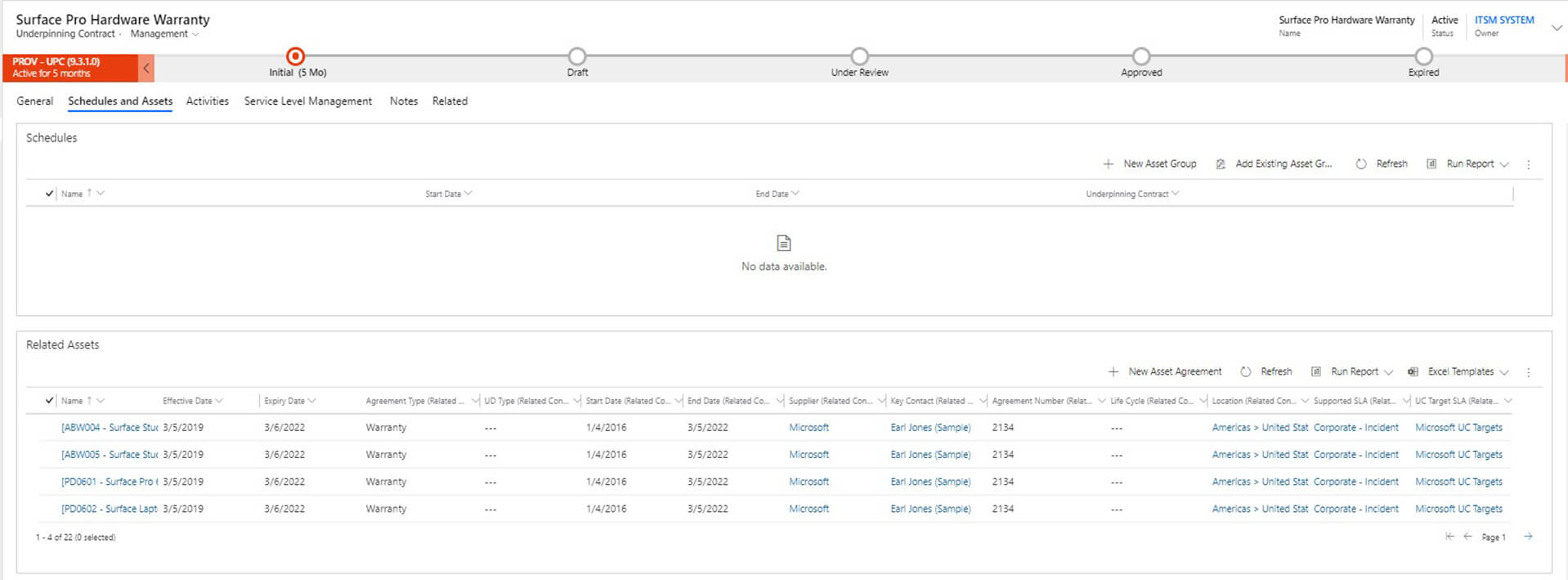 Contract and Lease Management Screenshot