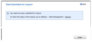 Data Submitted for Import