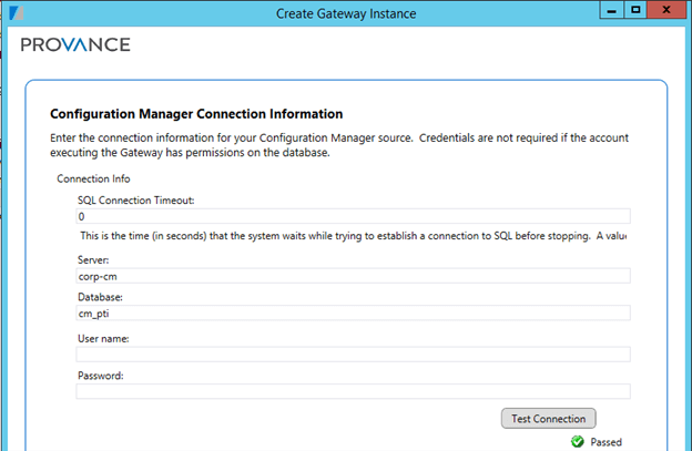Configuration Manager Connection Information