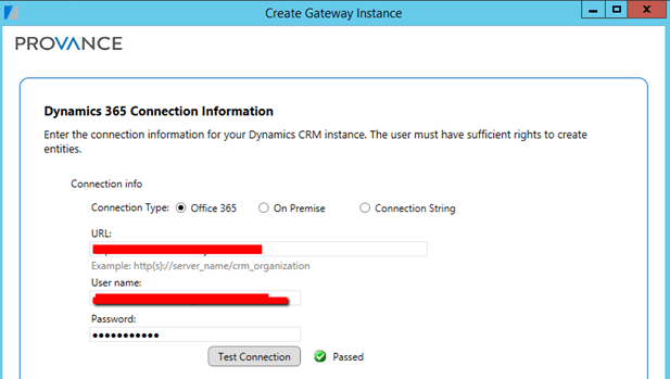 Dynamics 365 Connection Information